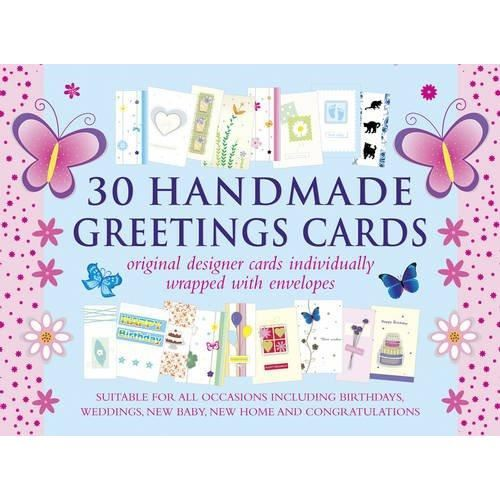 30 Handmade Greetings Cards (Blue/Pink Box)