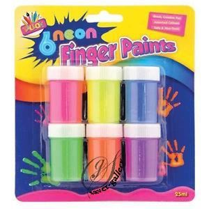 6X20ML NEON FINGER PAINT POTS
