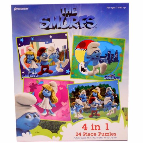 PUZZLE 4 IN 1 SCOOBY SMURFS ASSORT