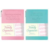 A6 FAMILY ORGANISER PINK AND TEAL + PEN