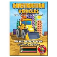 Activity Stencil Books - Construction Vehicles: Colouring & Activity