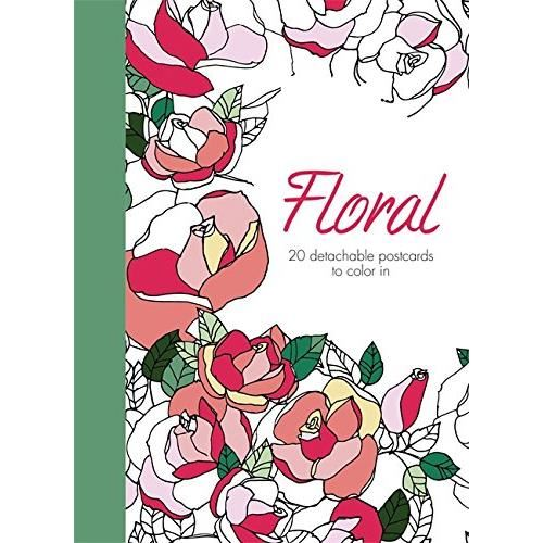 FLORAL: 20 POSTCARDS TO COLOR