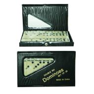 Double six dominoes in a PVC case