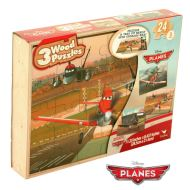 Planes 3 Wooden Puzzles in Wood Storage box