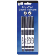 4 DRY-WIPE MARKERS (BLACK ONLY)