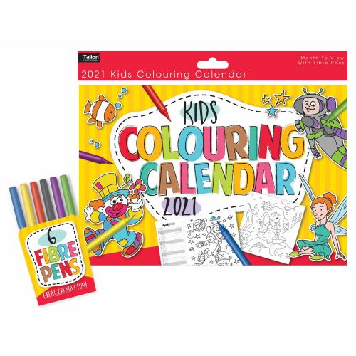 Tallon Kid's Colouring A4 Calendar 2020 with 6 Fibre Pens